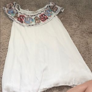 Off the shoulder embroidered white dress